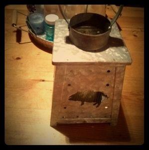 Battery operated tin lantern